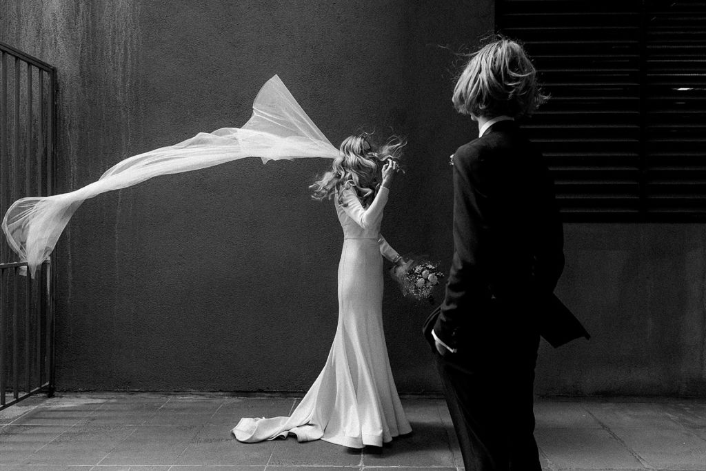 Suzanne Harward gown for Melbourne Registry office wedding portraits