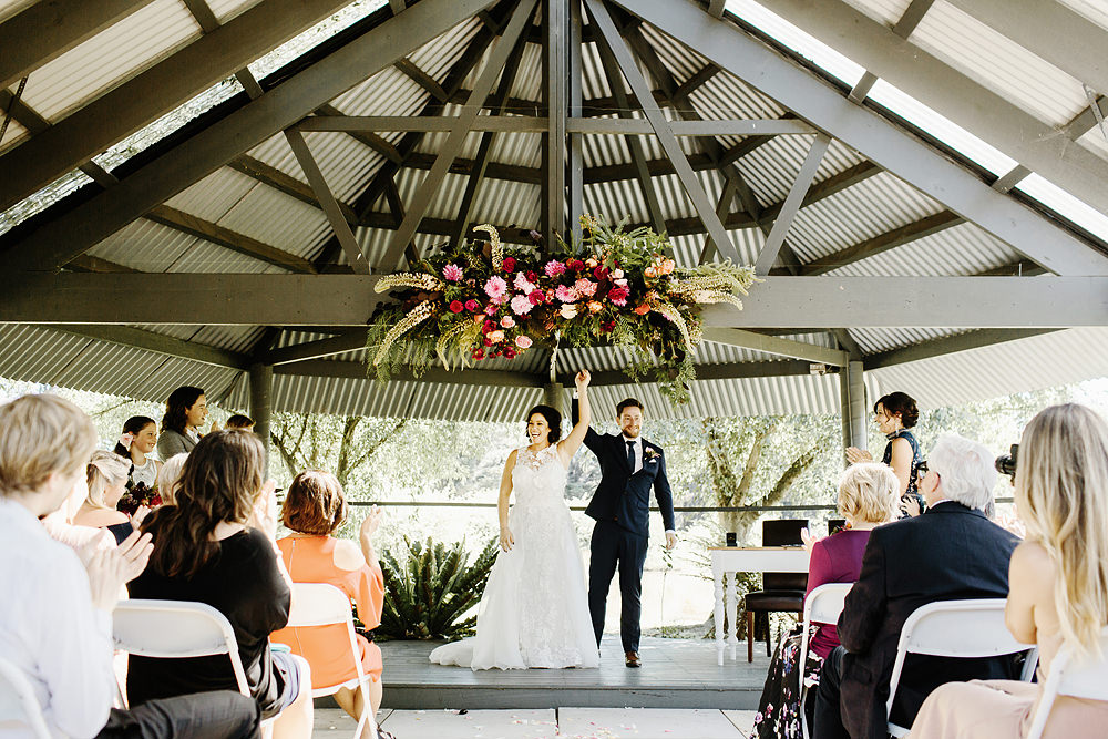 Immerse Winery Wedding Gillian Pollard Floral arch
