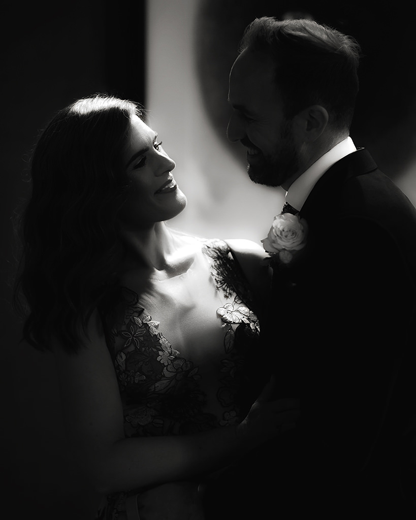 Romantic black and white wedding portrait