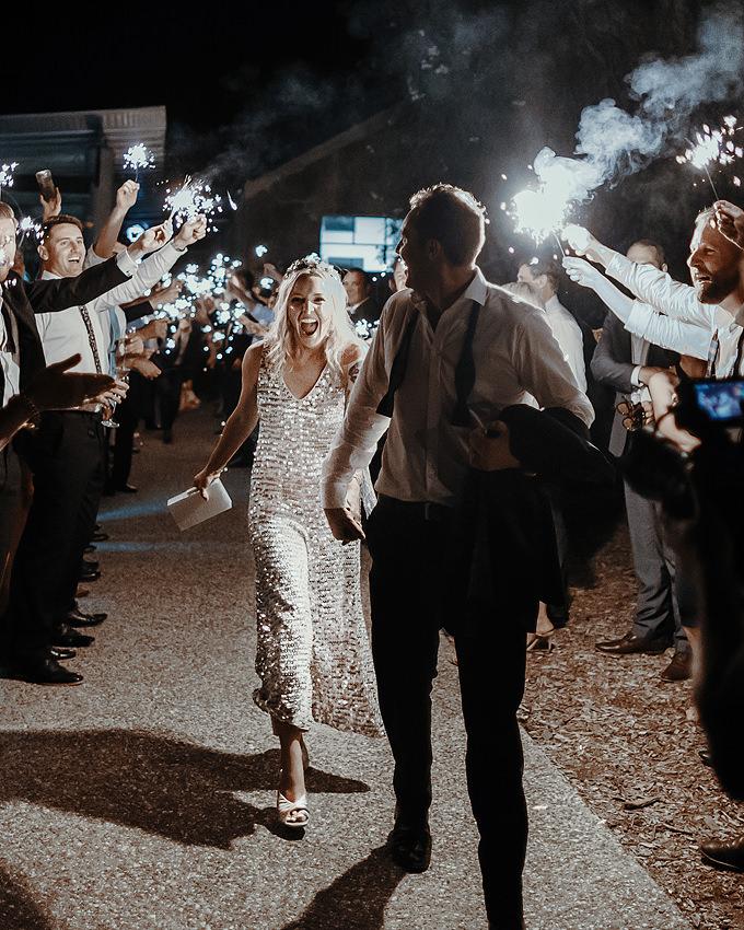 wedding reception timeline tips - the sparkler exit