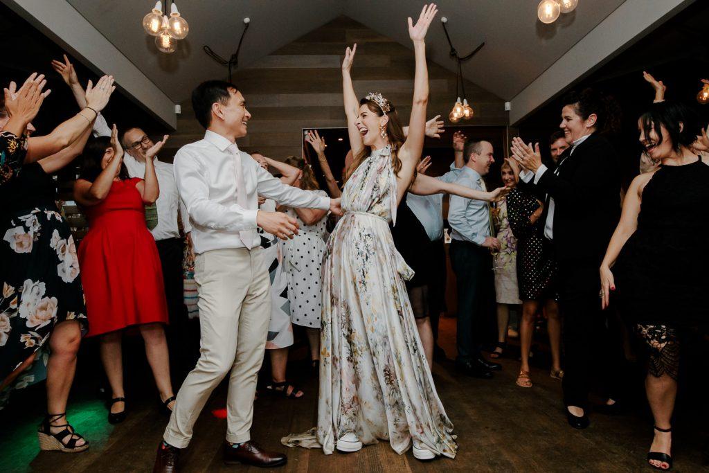 A photograph of a wedding reception at Mornington Peninsula wedding venue, Crittenden Estate